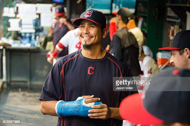 Pitcher Carlos Carrasco of the Cleveland Indians in the dugout prior to the game against the Chicago White Sox at Progressive Field on September 23...