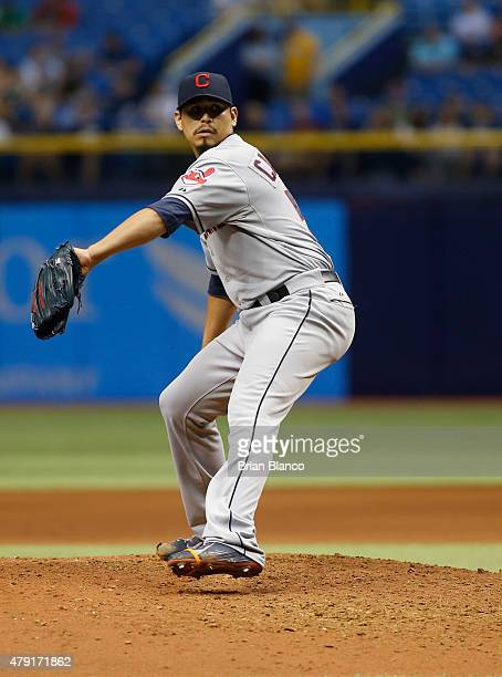 Pitcher Carlos Carrasco of the Cleveland Indians pitches during the bottom of the eighth inning of a game against the Tampa Bay Rays on July 1 2015...