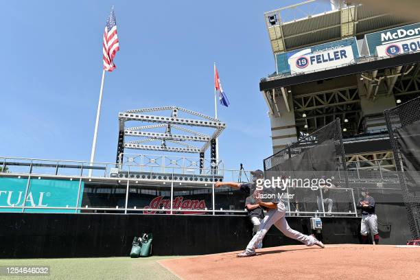 Pitcher Carlos Carrasco of the Cleveland Indians throws in the bullpen during summer workouts at Progressive Field on July 06, 2020 in Cleveland,...