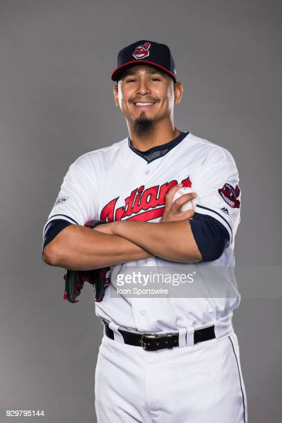 Pitcher Carlos Carrasco poses for a photo during the Cleveland Indians photo day on Wednesday Feb 21 2018 at Goodyear Ballpark in Goodyear Ariz