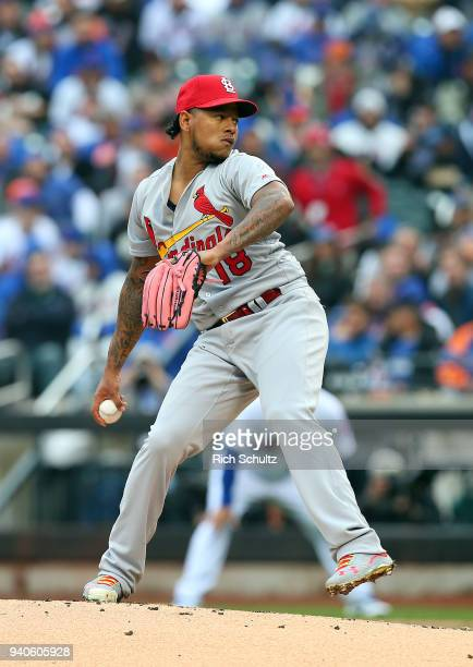 Pitcher Carlos Martinez of the St Louis Cardinals in action during a game against the New York Mets at Citi Field on March 29 2018 in the Flushing...