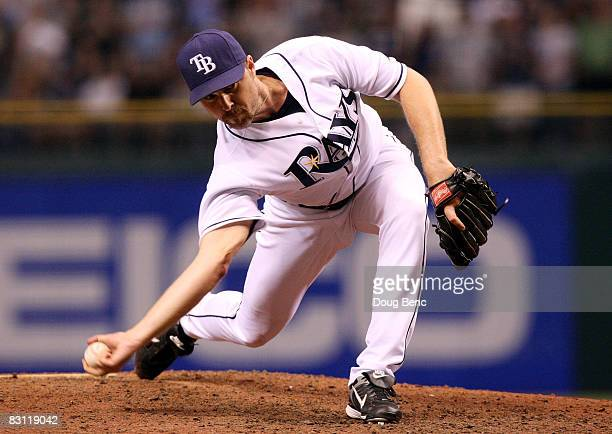 Pitcher Chad Bradford of the Tampa Bay Rays throws a pitch in the ninth inning against the Chicago White Sox in Game 2 of the American Leaugue...