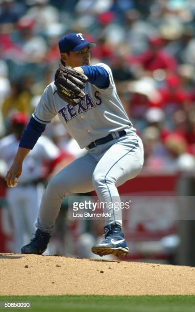 Pitcher Chan Ho Park of the Texas Rangers on the mound during the game against the Anaheim Angels on April 22 2004 at Angel Stadium in Anaheim...