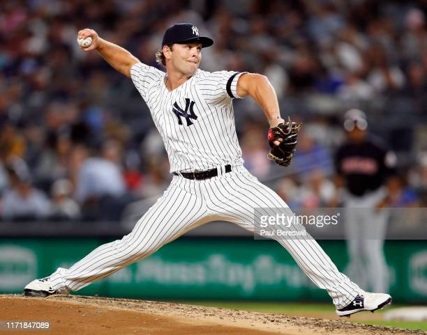 Pitcher Chance Adams of the New York Yankees pitches in an MLB baseball game against the Cleveland Indians on August 15, 2019 at Yankee Stadium in...