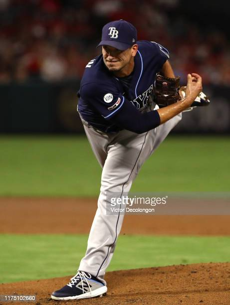 Pitcher Charlie Morton of the Tampa Bay Rays pitches during the first inning of the MLB game against the Los Angeles Angels at Angel Stadium of...