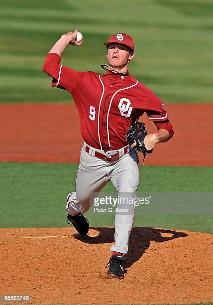 Pitcher Chase Anderson of the Oklahoma Sooners delivers a pitch during a game against the Kansas State Wildcats on March 21, 2009 at Tointon Stadium...