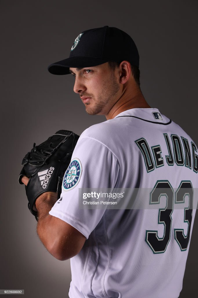 Pitcher Chase De Jong #3 of the Seattle Mariners poses for a portrait during photo day at Peoria Stadium on February 21, 2018 in Peoria, Arizona.