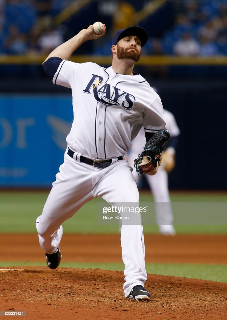 Pitcher Chase Whitley #47 of the Tampa Bay Rays pitches during the eighth inning of a game against the Seattle Mariners on August 18, 2017 at Tropicana Field in St. Petersburg, Florida.