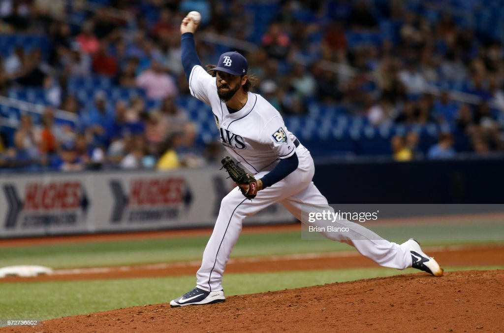 Pitcher Chaz Roe #52 of the Tampa Bay Rays pitches during the sixth inning of a game against the Toronto Blue Jays on June 12, 2018 at Tropicana Field in St. Petersburg, Florida.
