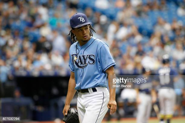 Pitcher Chris Archer of the Tampa Bay Rays walks back to the dugout following the top of the sixth inning inning of a game against the Milwaukee...