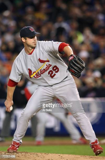 Pitcher Chris Carpenter of the St. Louis Cardinals delivers a pitch during game two of the NLCS against the New York Mets at Shea Stadium on October...