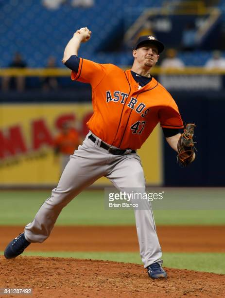 Pitcher Chris Devenski of the Houston Astros pitches during the sixth inning of a game against the Texas Rangers on August 31 2017 at Tropicana Field...