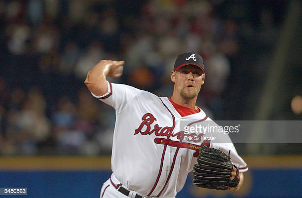 Pitcher Chris Reitsma of the Atlanta Braves on the mound during the game against the New York Mets at Turner Field on April 7, 2004 in Atlanta,...