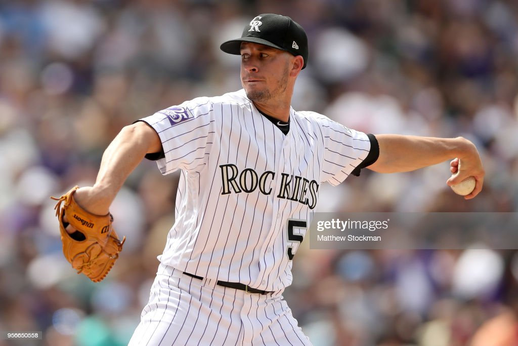 Pitcher Chris Rusen #52 of the Colorado Rockies throws in the sixth inning against the Los Angeles Angels of Anaheim at Coors Field on May 9, 2018 in Denver, Colorado.
