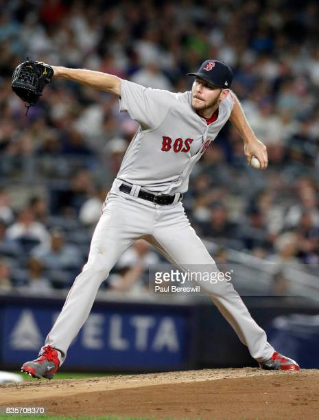 Pitcher Chris Sale of the Boston Red Sox pitches in an MLB baseball game against the New York Yankees on August 13 2017 at Yankee Stadium in the...