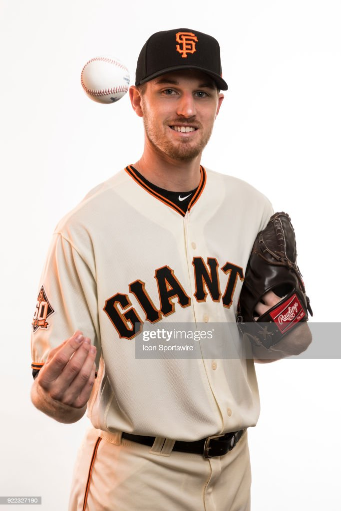 Pitcher Chris Sratton (34) poses for a photo during the San Francisco Giants photo day on Tuesday, Feb. 20, 2018 at Scottsdale Stadium in Scottsdale, Ariz.