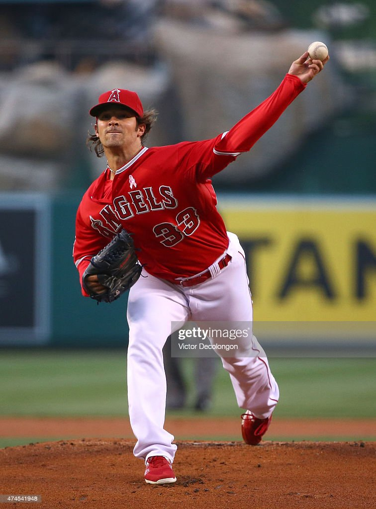 Pitcher C.J. Wilson #33 of the Los Angeles Angels of Anaheim pitches in the first inning during the MLB game against the Colorado Rockies at Angel Stadium of Anaheim on May 12, 2015 in Anaheim, California. The Angels defeated the Rockies 5-2.