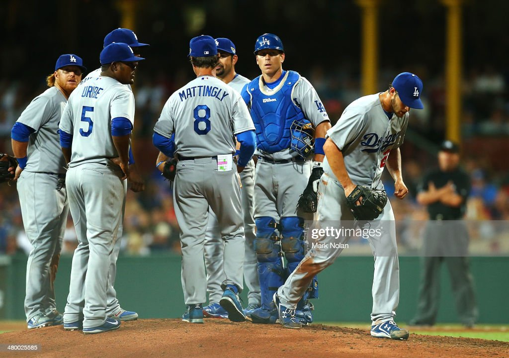 Pitcher Clayton Kershaw of the Dodgers is taken out of the game during the opening match of the MLB season between the Los Angeles Dodgers and the Arizona Diamondbacks at Sydney Cricket Ground on March 22, 2014 in Sydney, Australia.