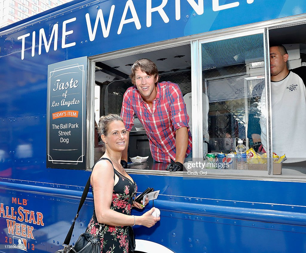 Pitcher Clayton Kershaw (R) of the Los Angeles Dodgers attends Time Warner Cable MLB All Star Week - Food Trucks, Wifi & Players on July 15, 2013 in New York City.