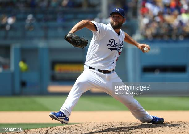 Pitcher Clayton Kershaw of the Los Angeles Dodgers pitches in the fifth inning during the MLB game against the Los Angeles Angels of Anaheim at...