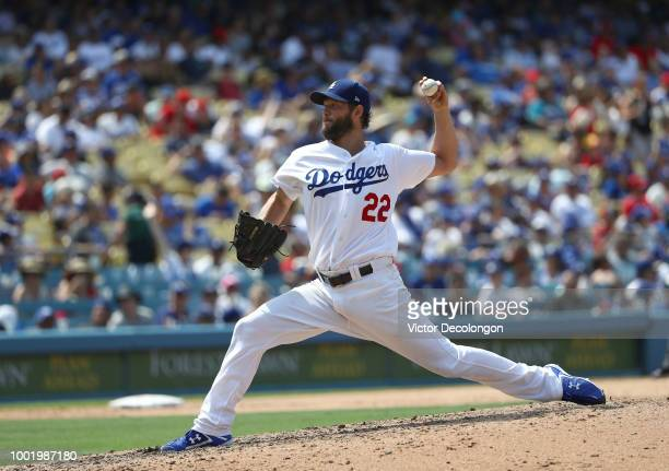 Pitcher Clayton Kershaw of the Los Angeles Dodgers pitches in the seventh inning during the MLB game against the Los Angeles Angels of Anaheim at...