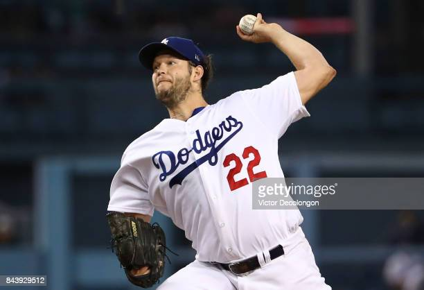 Pitcher Clayton Kershaw of the Los Angeles Dodgers pitches in the first inning during the MLB game against the Colorado Rockies at Dodger Stadium on...
