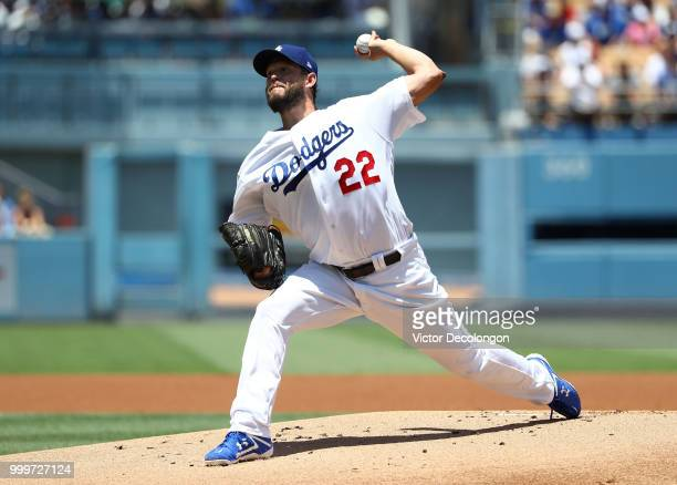 Pitcher Clayton Kershaw of the Los Angeles Dodgers pitches in the first inning during the MLB game against the Los Angeles Angels of Anaheim at...