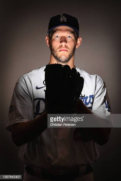 Pitcher Clayton Kershaw of the Los Angeles Dodgers poses for a portrait during MLB media day on February 20, 2020 in Glendale, Arizona.