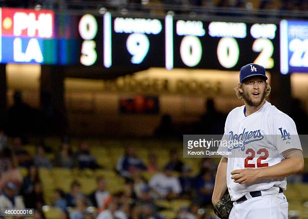 Pitcher Clayton Kershaw of the Los Angeles Dodgers prepares to pitch in the ninth inning against Philadelphia Phillies on July 8 2015 at Dodger...