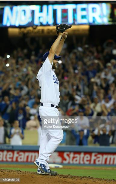 Pitcher Clayton Kershaw of the Los Angeles Dodgers reacts after pitching a no-hitter against the Colorado Rockies in their MLB game at Dodger Stadium...