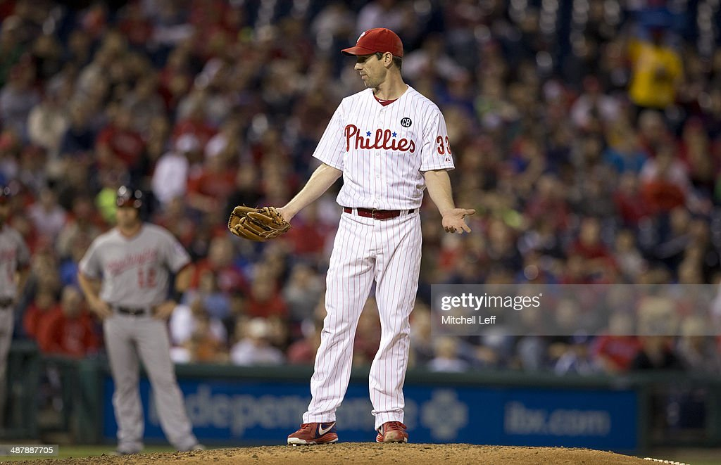 Pitcher Cliff Lee #33 of the Philadelphia Philles reacts to a Washington Nationals batter not getting in the batters box during the fifth inning on May 2, 2014 at Citizens Bank Park in Philadelphia, Pennsylvania.
