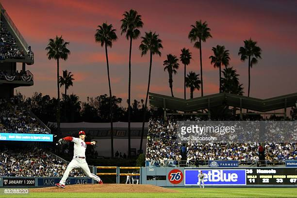 Pitcher Cole Hamels of the Philadelphia Phillies on the mound against the Los Angeles Dodgers in Game Five of the National League Championship Series...