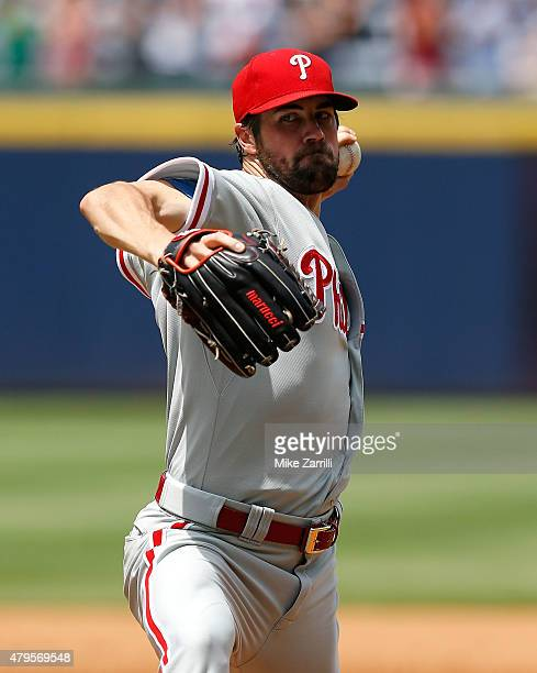 Pitcher Cole Hamels of the Philadelphia Phillies throws a pitch in the sixth inning during the game against the Atlanta Braves at Turner Field on...