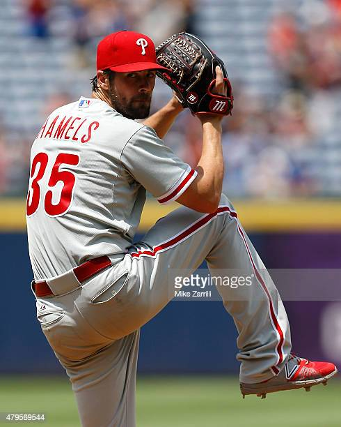 Pitcher Cole Hamels of the Philadelphia Phillies winds up in the sixth inning during the game against the Atlanta Braves at Turner Field on July 5...