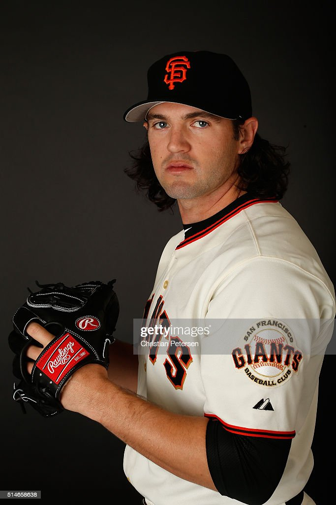 Pitcher Cory Gearrin #62 of the San Francisco Giants poses for a portrait during spring training photo day at Scottsdale Stadium on February 28, 2016 in Scottsdale, Arizona.
