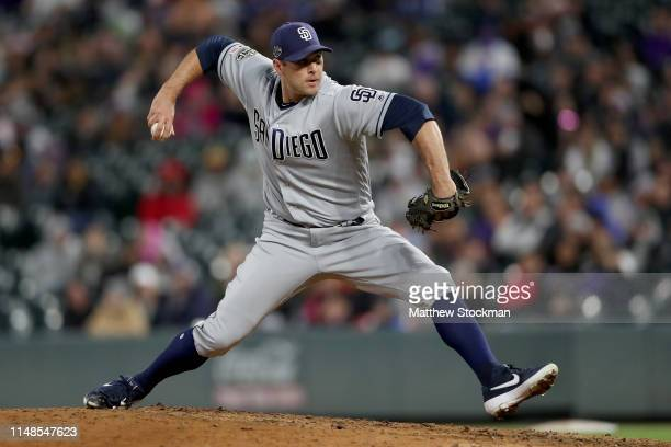 Pitcher Craig Stammen of the San Diego Padres throws in the eighth inning against the Colorado Rockies at Coors Field on May 11, 2019 in Denver,...