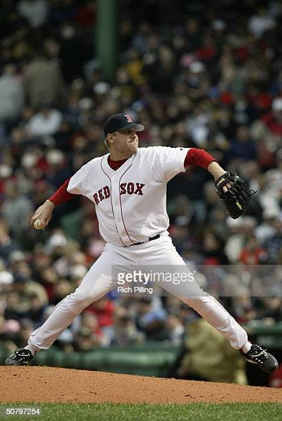 Pitcher Curt Schilling of the Boston Red Sox on the mound during the game against the Toronto Blue Jays at Fenway Park on April 11, 2004 in Boston,...