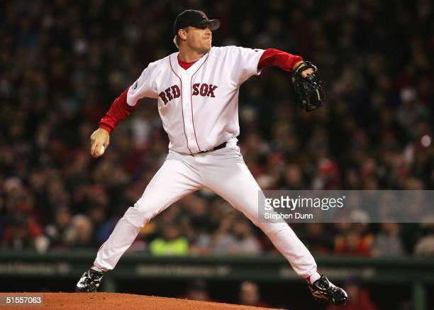 Pitcher Curt Schilling of the Boston Red Sox throws a pitch against the St Louis Cardinals in the first inning during game two of the World Series on...