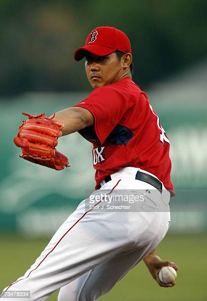 Pitcher Daisuke Matsuzaka of the Boston Red Sox delivers a pitch against Boston College during a Spring Training game on March 2 2007 at City of the...