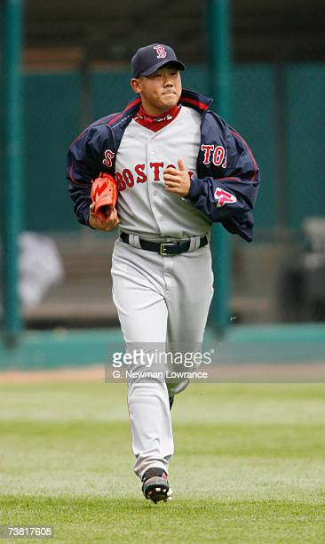 Pitcher Daisuke Matsuzaka of the Boston Red Sox runs in from the bullpen prior to his first start against the Kansas City Royals on April 5 2007 at...