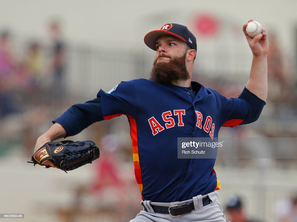 Pitcher Dallas Keuchel #60 of the Houston Astros delivers a pitch against the Washington Nationals during the second inning of a spring training baseball game on March 12, 2017 in West Palm Beach, Florida.