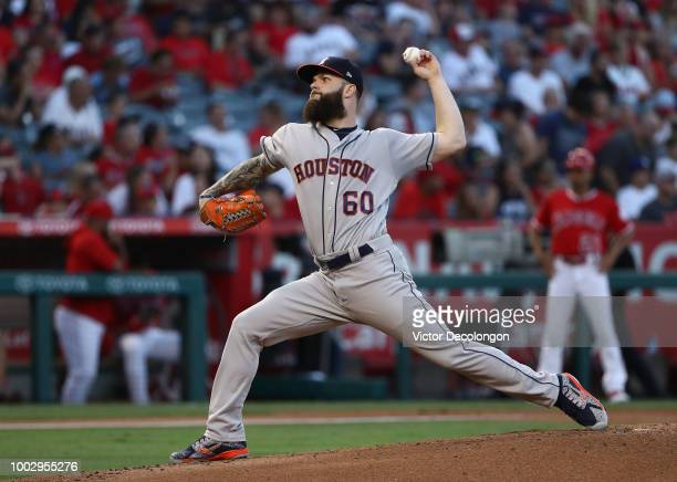 Pitcher Dallas Keuchel of the Houston Astros pitches in the first inning during the MLB game against the Los Angeles Angels of Anaheim at Angel...