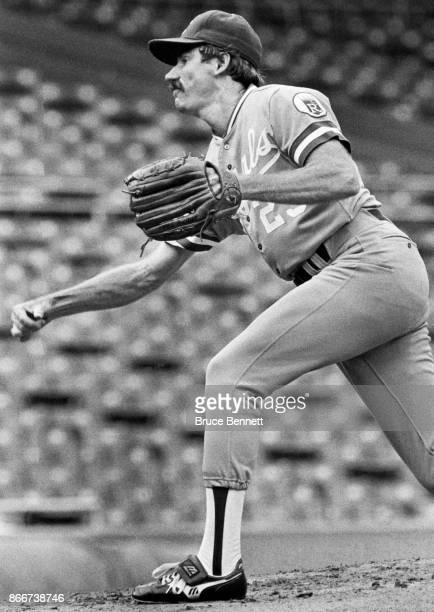 Pitcher Dan Quisenberry of the Kansas City Royals throws the pitch during an MLB continuation game against the New York Yankees on August 18 1983 at...