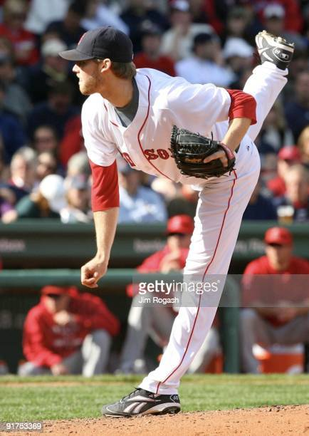 Pitcher Daniel Bard of the Boston Red Sox on the mound in the seventh inning against the Los Angeles Angels of Anaheim in Game Three of the ALDS...