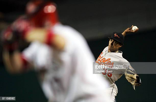 Pitcher Daniel Cabrera of the Baltimore Orioles throws a pitch to Darin Erstad of the Anaheim Angels on August 10, 2004 at Angel Stadium in Anaheim,...