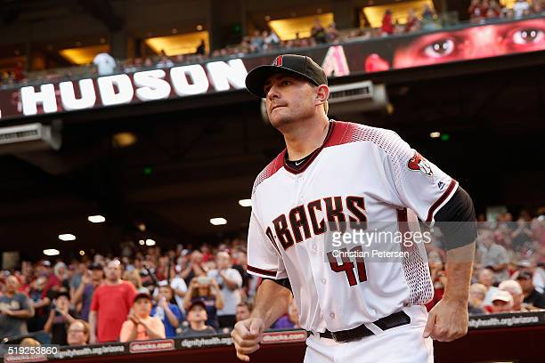 Pitcher Daniel Hudson of the Arizona Diamondbacks is introduced to the MLB opening day game against the Colorado Rockies at Chase Field on April 4...