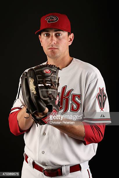 Pitcher Daniel Hudson of the Arizona Diamondbacks poses for a portrait during spring training photo day at Salt River Fields at Talking Stick on...