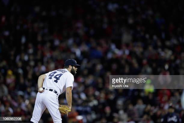 Pitcher Daniel Norris of the Detroit Tigers throws in the top of 5th inning during the game four between Japan and MLB All Stars at Mazda Zoom Zoom...