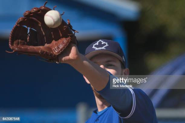 Pitcher Danny Barnes catches a ball from the catcher while working from the mound Toronto Blue Jays continue the preparations for the upcoming...