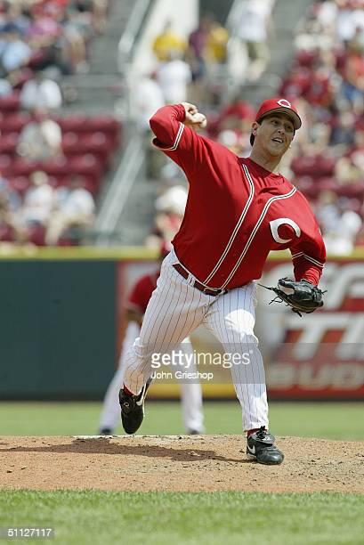 Pitcher Danny Graves of the Cincinnati Reds delivers the ball during MLB game against the Cleveland Indians at Great American Ball Park on July 4...